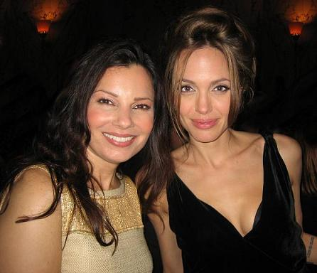 Fran with Angelina Jolie, who lost her mother to ovarian cancer photo courtesy of www.cancerschmancer.org